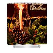Christmas Card Digital Paint Shower Curtain