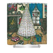 Christmas Card Drawing Shower Curtain