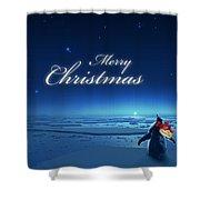 Christmas Card - Penguin Blue Shower Curtain