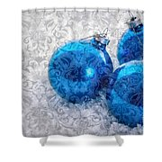 Christmas Card With Vintage Blue Ornaments Shower Curtain