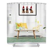 Christmas Caroling Pug Shower Curtain by Edward Fielding
