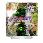 Christmas Carousel Horse With Pine Branch Shower Curtain