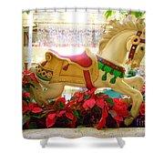 Christmas Carousel Horse With Poinsettias Shower Curtain
