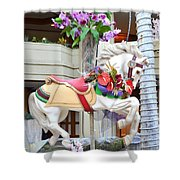 Christmas Carousel White Horse Shower Curtain