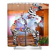 Christmas Carousel Zebra Shower Curtain