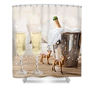 Christmas Champagne Shower Curtain
