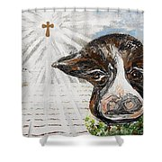 Christmas Cow - Oh To Have Been There... Shower Curtain