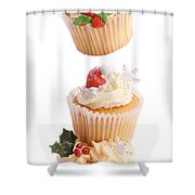 Christmas Cupcake Tower Shower Curtain