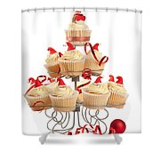 Christmas Cupcakes On Stand Shower Curtain