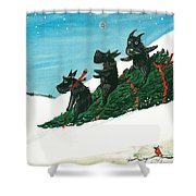 Christmas Day Scottie Style Shower Curtain