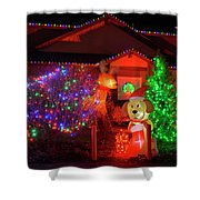 Christmas Decorations At Residential Shower Curtain