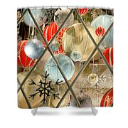 Christmas Decorations In Window Shower Curtain