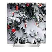 Christmas Decorations On Snowy Tree Shower Curtain