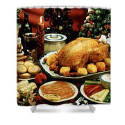 Christmas Dinner Shower Curtain