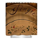 Christmas Dinnerware Shower Curtain