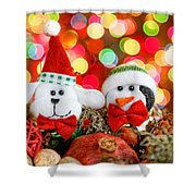 Christmas Dog And Penguin Shower Curtain
