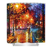 Christmas Emotions - Palette Knife Oil Painting On Canvas By Leonid Afremov Shower Curtain