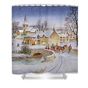 Christmas Eve In The Village  Shower Curtain by Stanley Cooke