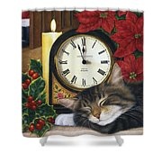 Christmas Eve Nap Shower Curtain