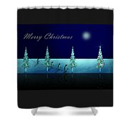 Christmas Eve Walk Of The Penguins  Shower Curtain