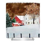 Christmas Farm Shower Curtain