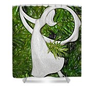 Christmas Figure Skater Shower Curtain