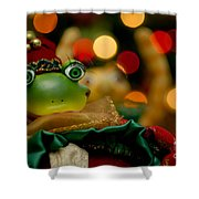 Christmas Frog Shower Curtain