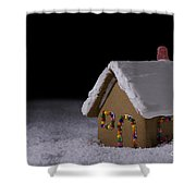 Christmas Gingerbread Cottage At Night Shower Curtain