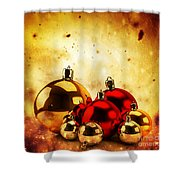 Christmas Glass Balls On Winter Gold Background Shower Curtain