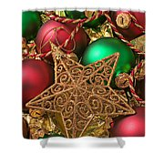Christmas Gold Star Shower Curtain