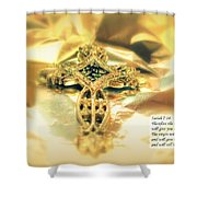 Christmas Greeting Card - The Cross And Bible Quote Shower Curtain