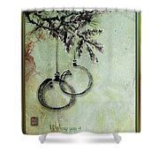 Christmas Greeting Card With Ink Brush Drawing Shower Curtain