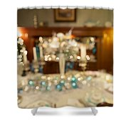 Christmas Holiday Dinner Table Decoration Blurred Shower Curtain