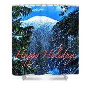 Christmas Holidays Scenic Snow Covered Mountains Looking Through The Trees  Shower Curtain