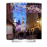 Christmas Illumination On Piwna Street In Warsaw Shower Curtain