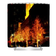 Christmas In New York - Trees And Star Shower Curtain