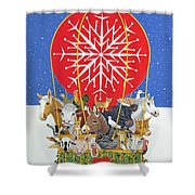 Christmas Journey Oil On Canvas Shower Curtain