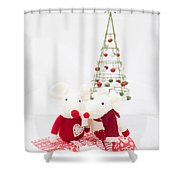 Christmas Mice Shower Curtain