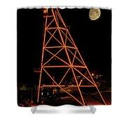 Christmas Moon Over Butte Headframe Shower Curtain