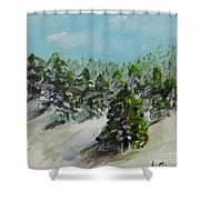 Christmas Mountain Shower Curtain