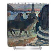 Christmas Night Blessing Of The Oxen Shower Curtain