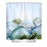 Christmas Ornaments On Blue Shower Curtain
