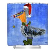 Christmas Pelican Shower Curtain