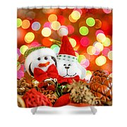 Christmas Penguin And Puppy Shower Curtain