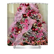 Christmas Pink Shower Curtain