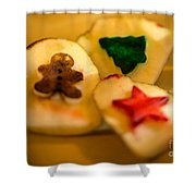 Christmas Potato Stamps Shower Curtain