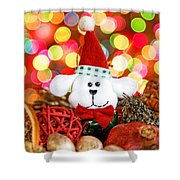 Christmas Puppy Shower Curtain