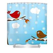 Christmas Red Cardinal Bird Pair Winter Scene Shower Curtain