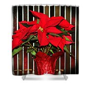 Christmas Red Poinsettia Shower Curtain