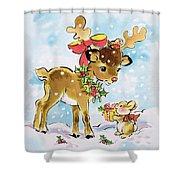 Christmas Reindeer And Rabbit Shower Curtain